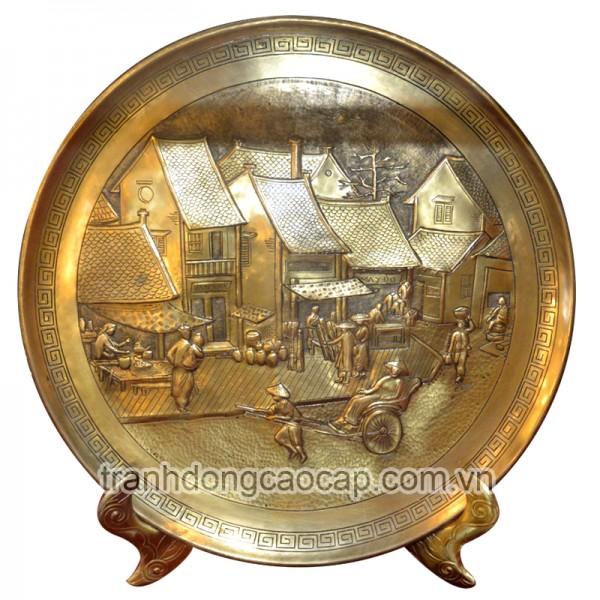đĩa đồng lưu niệm phố cổ hà nội