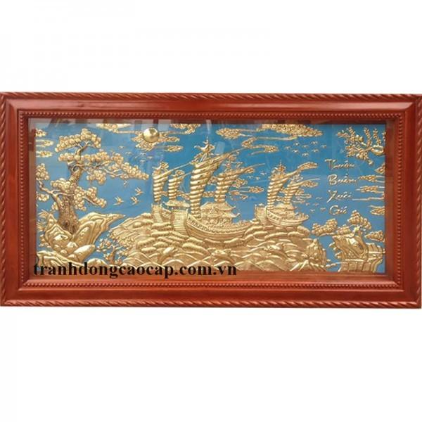 tranh đồng thuận buồm xuôi gió khung gỗ