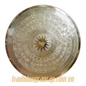 tranh mặt trống đồng mạ vàng 24k