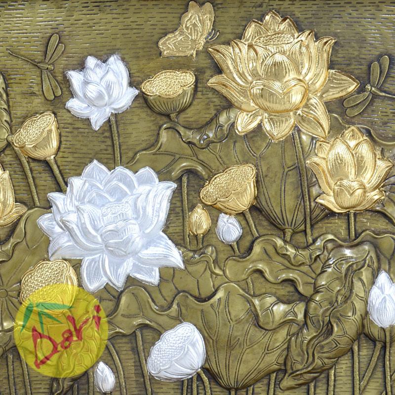 hoa sen mạ vàng bạc