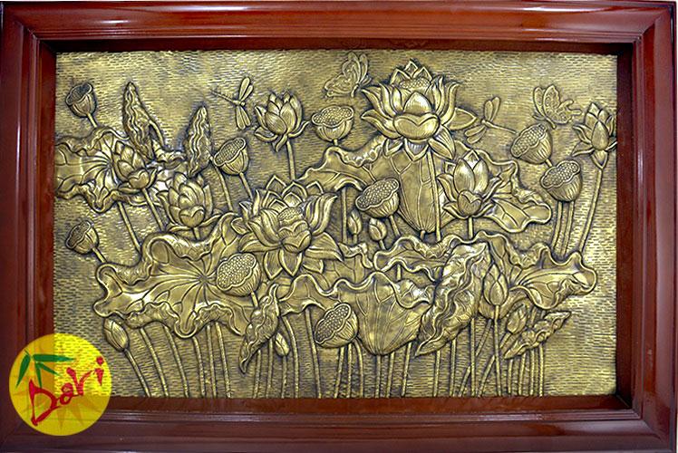 tranh đồng hoa sen