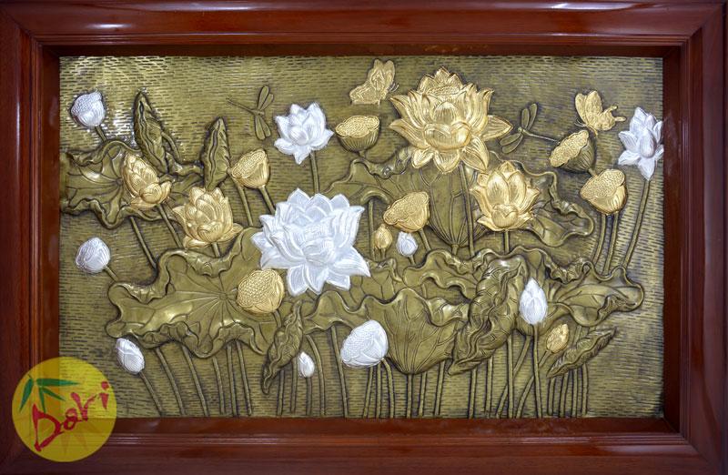 tranh đồng hoa sen mạ vàng mạ bạc