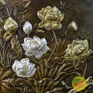 nét gò chạm tranh đồng hoa sen