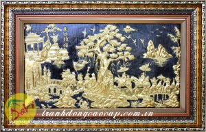 tranh vinh quy bái tổ dát vàng