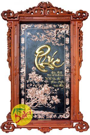 Tranh đồng chữ phúc thư pháp khung gỗ