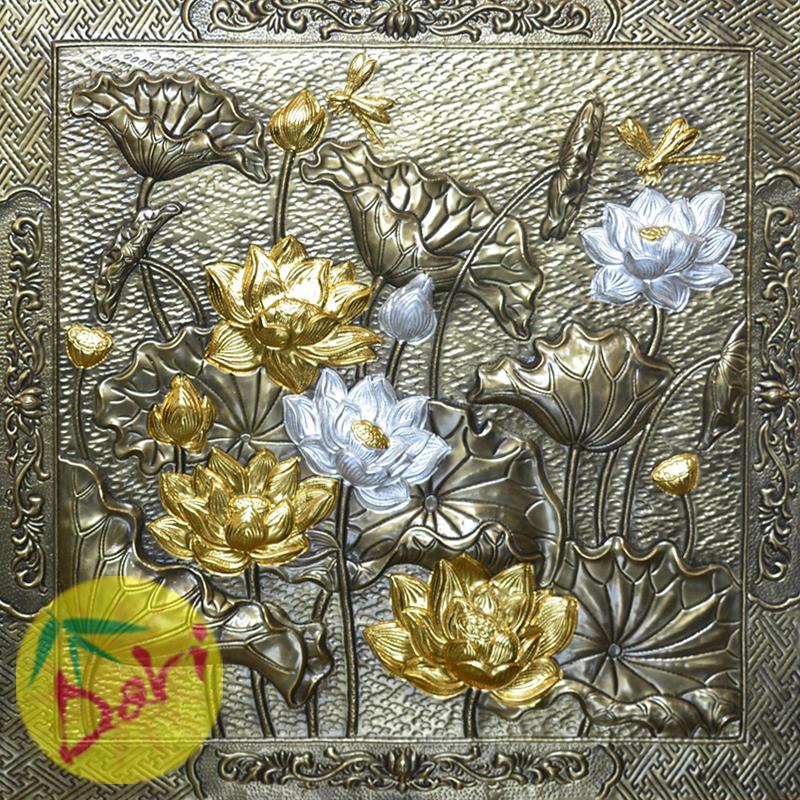 Tranh hoa sen dát vàng bạc